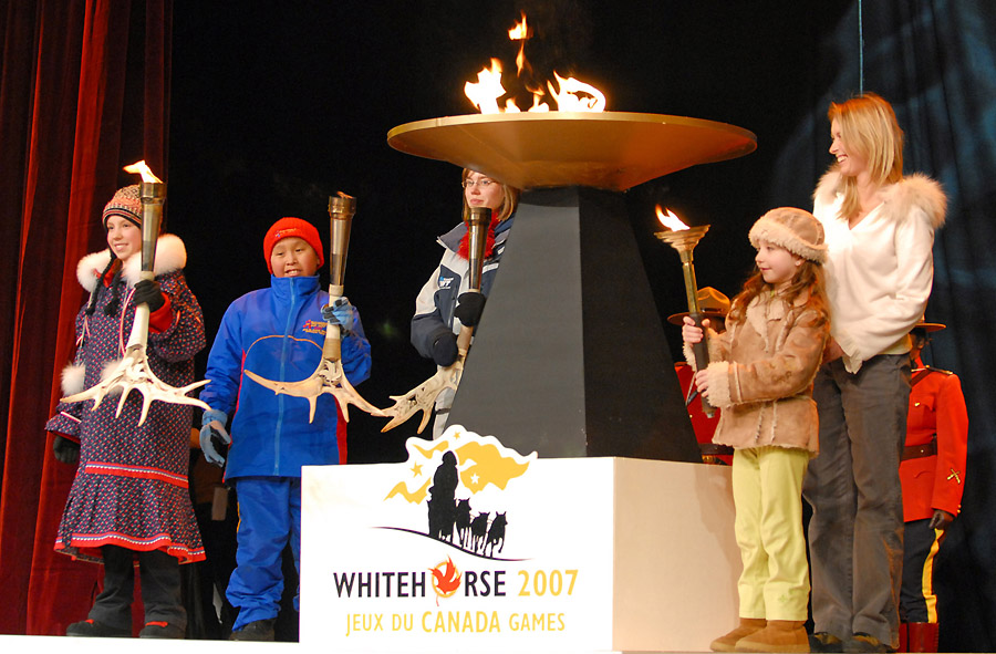 2007 Canada Winter Games Opening Ceremonies, Lighting of the Cauldron by the Three Northern Torches and the Roly McLenahan Torch