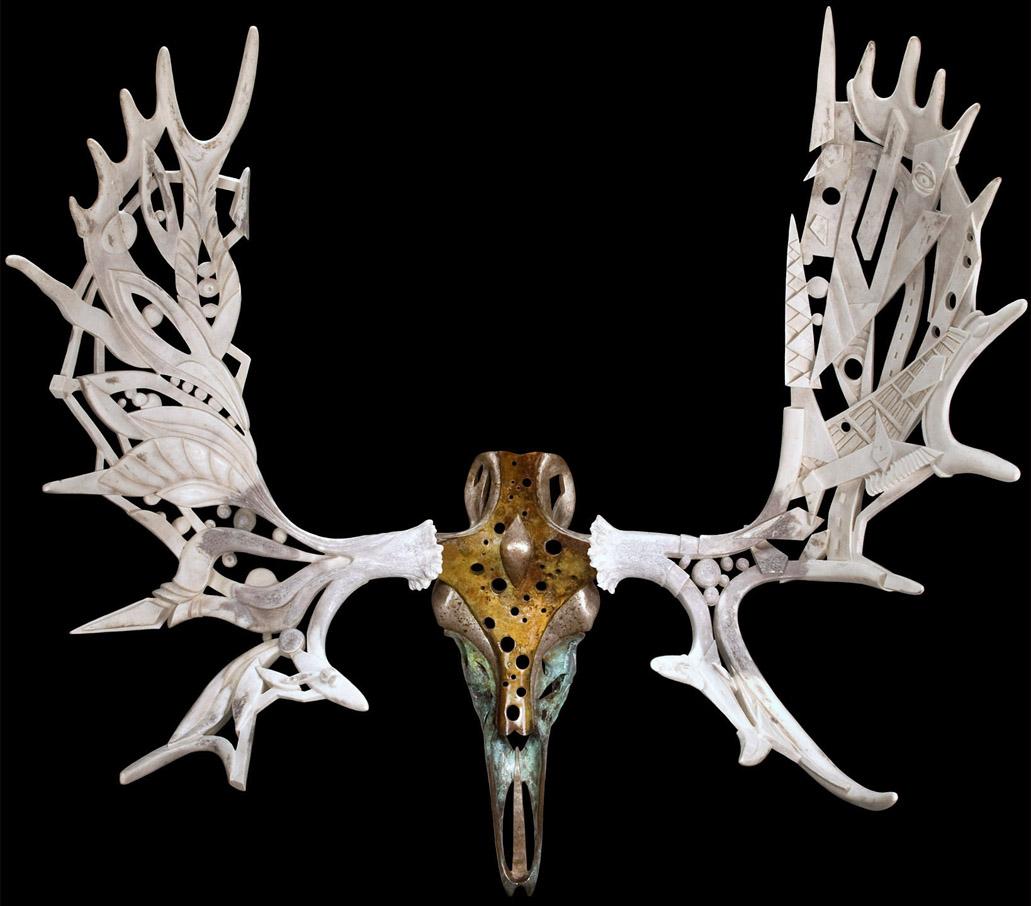 Gaia - moose antlers, bronze moose skull - 43x48x24in - 2009 - Shane Wilson