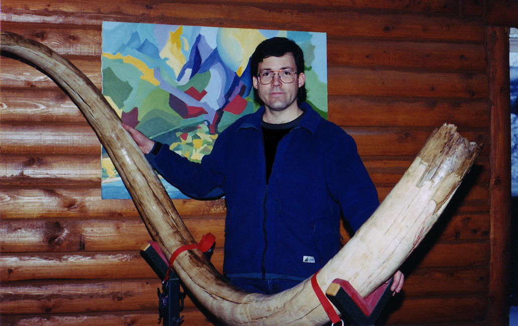 "Shane Wilson with his exciting new project, Millennium Tusk, mammoth tusk, 131"" along curve, Faro, Yukon, Canada, 1999"