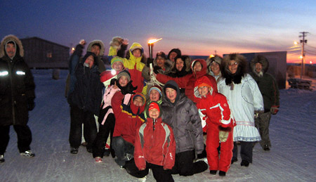 Canada Winter Games Torch Relay - Gjoa Haven, Nunavut, Canada, Midday Feb 2007