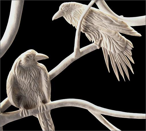 Rest and Sing (detail - ravens) moose antler - 24x31x12 - 1997 - Shane Wilson